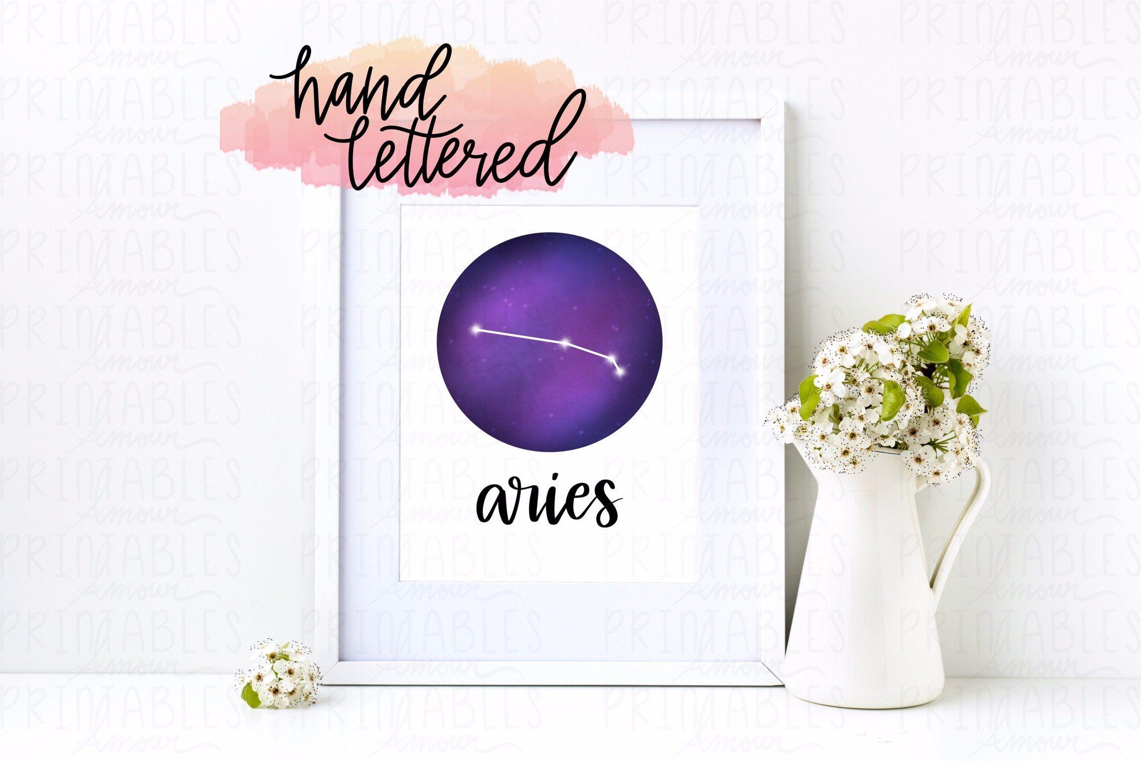 Aries Zodiac Sign Print Ipad Procreate Cute Handlettered Etsy Sign Printing Wall Printables Printable Wall Art