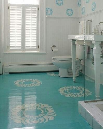 Painted Concrete Floors With Stencil Design Coordinates Wall Stencils Lovely Who Knew Could Make Such A Statement