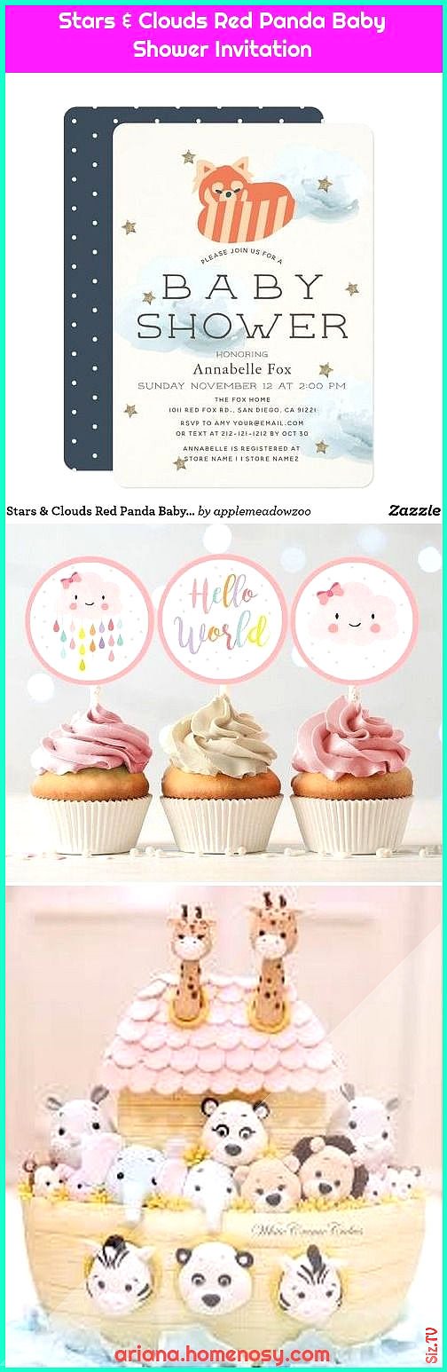 Stars 038 Clouds Red Panda Baby Shower Invitation Stars 038 Clouds Red Panda Baby Shower Invitation Ariana Valdez Homenosy arianavalhom baby showers ideas Baby Cloud Clou...