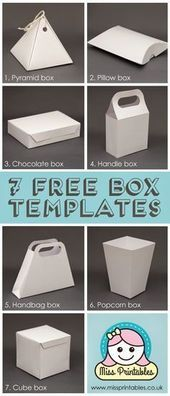 Blank box templates  freebie have fun making these boxes and decorating them yourselves with this free printable file