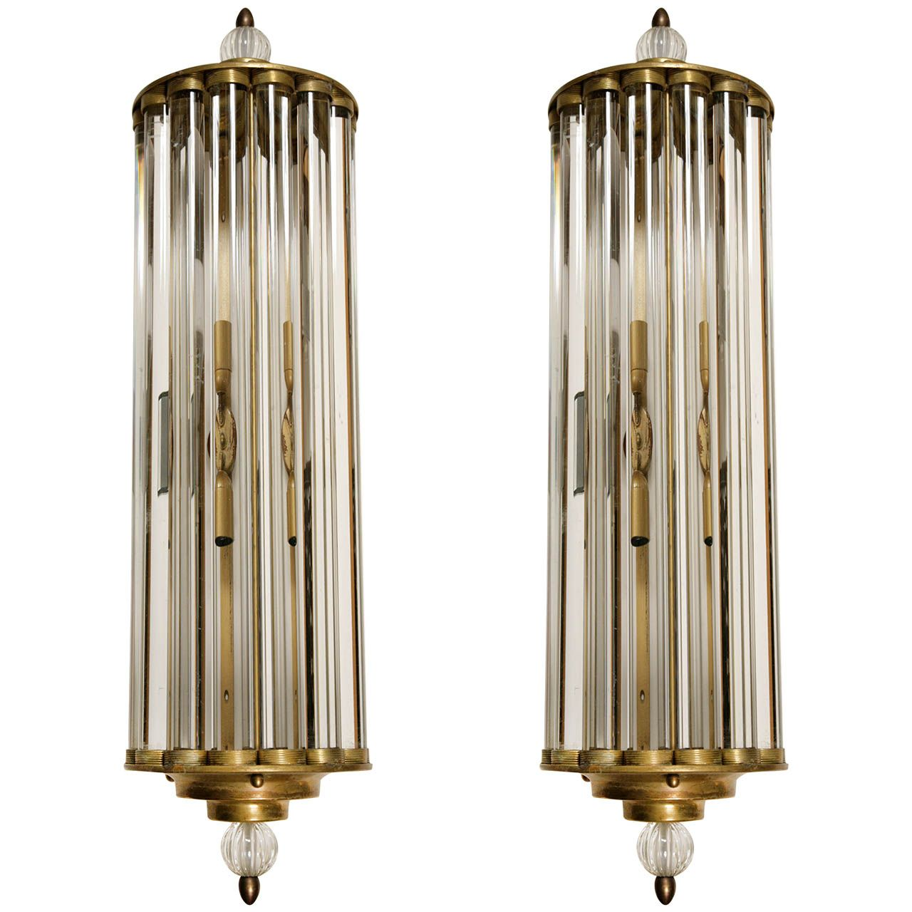 Pair Of 1940s Italian Wall Lights Signed Venini From A Unique Collection Antique And Modern Sconces At