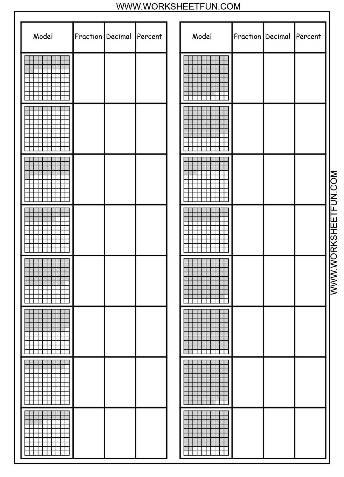 Free Printable Worksheets Convert Between Percents