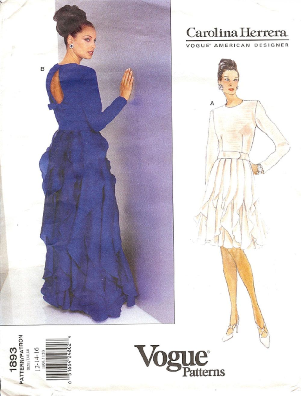 Vogue Carolina Herrera Sewing Pattern 1893, Misses Dress | Knitting ...