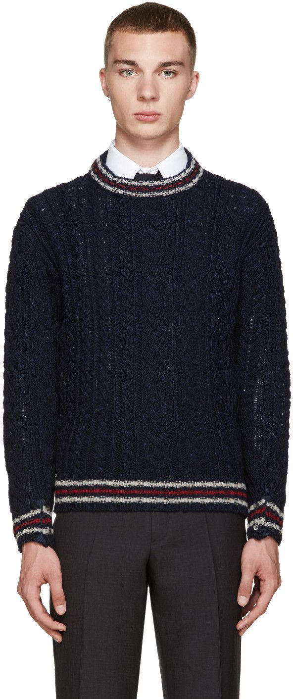 THOM BROWNE Navy Cable Knit Sweater. #thombrowne #cloth #sweater ...