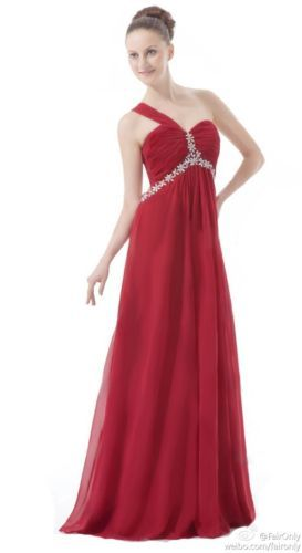 9ce827fdf5d FairOnly Red One Shoulder Backless Party Prom Ball Bridesmaid Dress Size 6  To 16