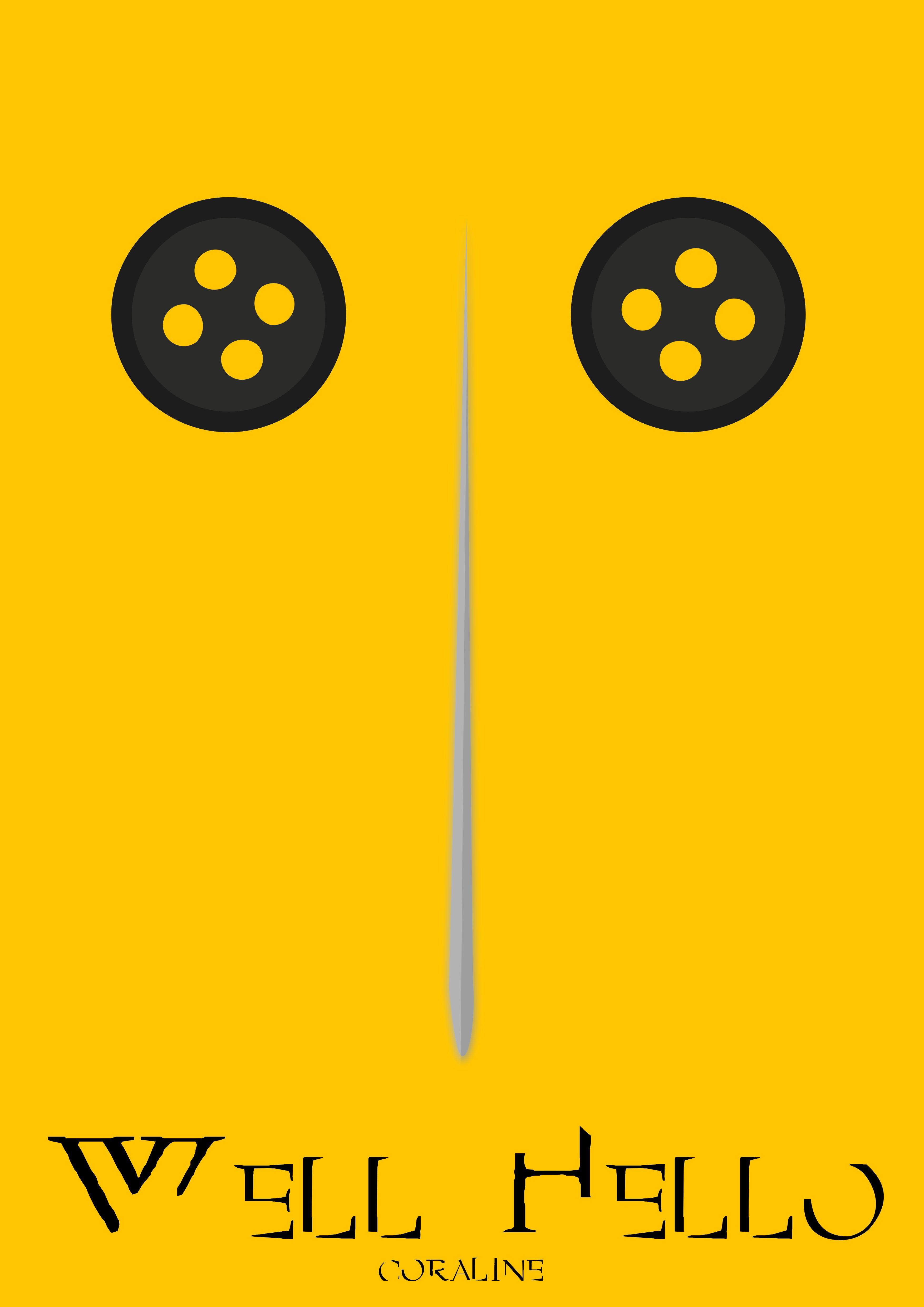 Well Hello Design Art Posterart Coraline Creepy Neilgaiman Horror Create Coraline Vector Estampado