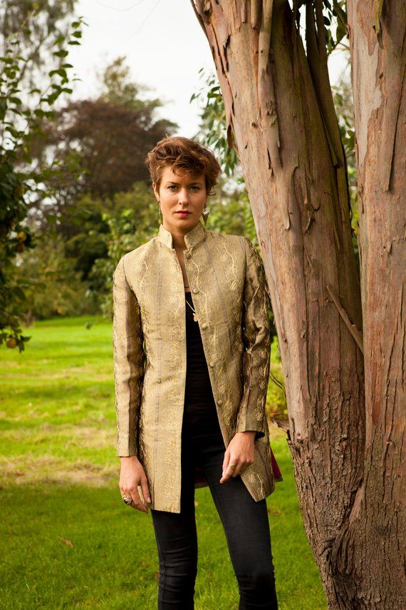6e4b3c9eb21 Ladies Gold Embroidered Longline Nehru Collar Jacket, Smart Special  Occasion, Opera, Party, Wedding, Cruise, Royal, Plus Size, Petite
