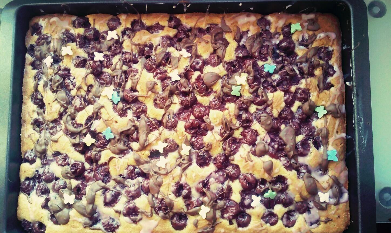 Noch Ein Blitzkuchen Schneller Obst Mandel Blechkuchen Kirsche