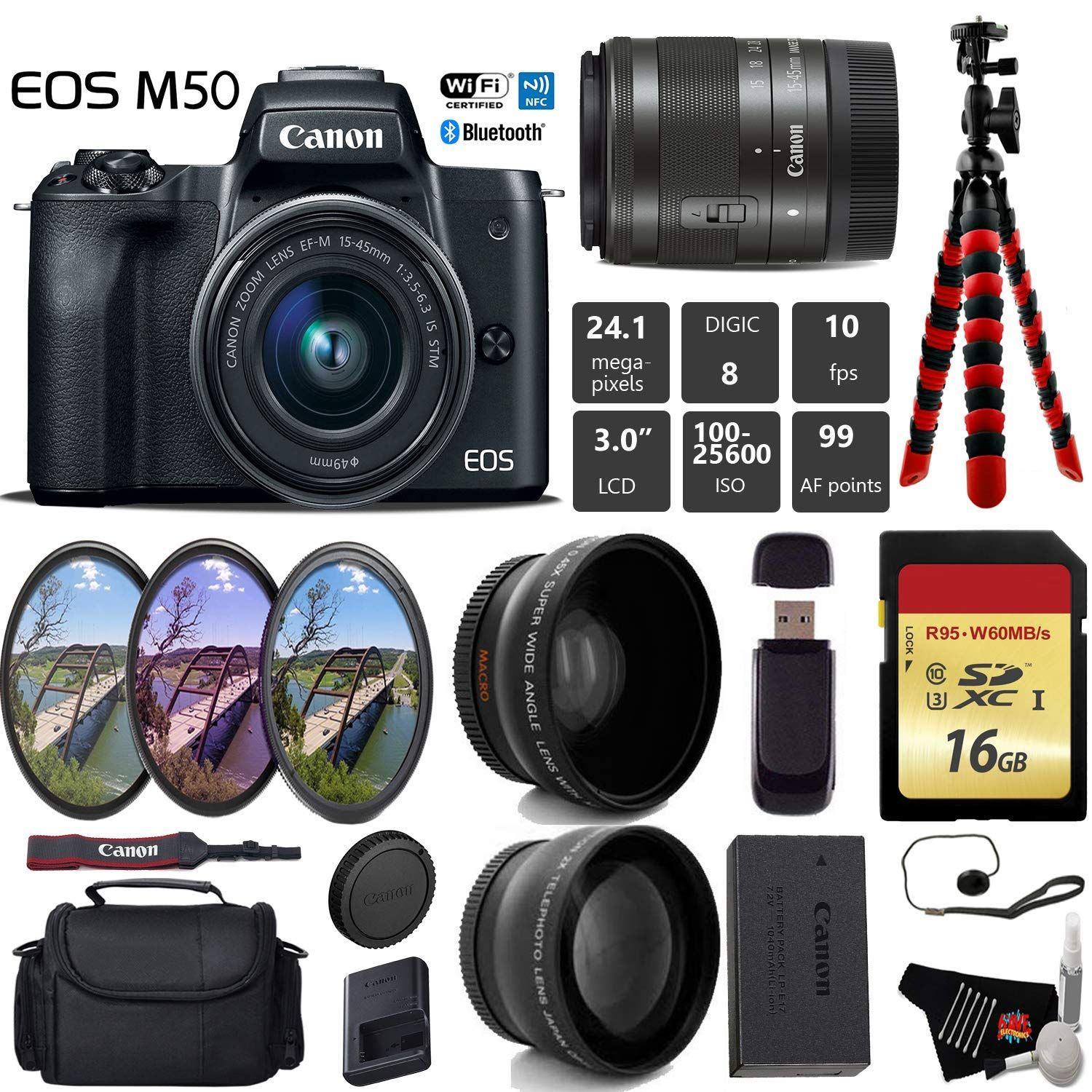 Canon Eos M50 Mirrorless Digital Camera With 15 45mm Lens Uv Fld Cpl Filter Kit Wide Angle Telephoto Lens Camera Walmart Com In 2021 Mirrorless Camera Photography Digital Camera Camera Lens