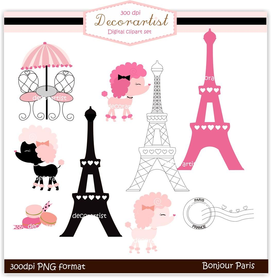 Cocoa Mint Bonjour Paris Digital Clip Art Clip Art Paris Theme Party