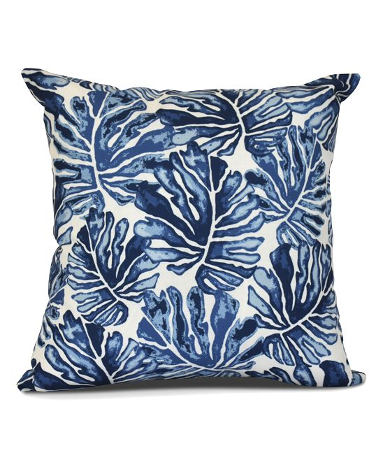 Blue Palm Leaves Floral  Throw Pillow