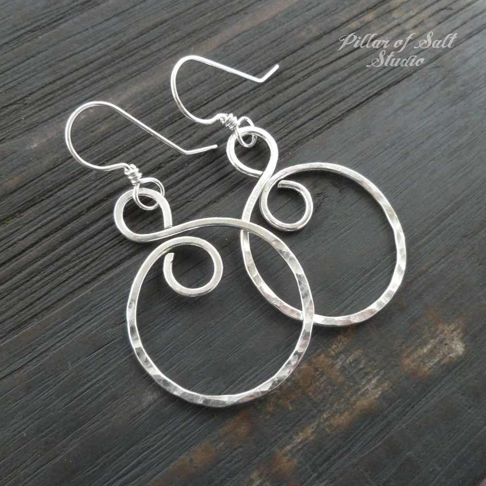 ce4c2a802 shiny sterling silver earrings / Pillar of Salt Studio wire wrapped jewelry