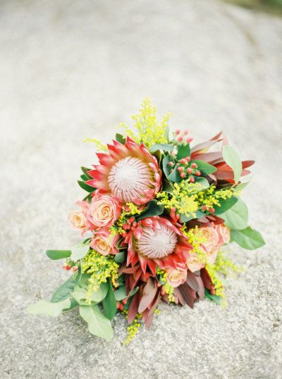 king protea bouquet | Photography, Design and Florals by brancoprata.com  Read more - http://www.stylemepretty.com/2013/08/09/romantic-day-after-shoot-from-brancoprata/