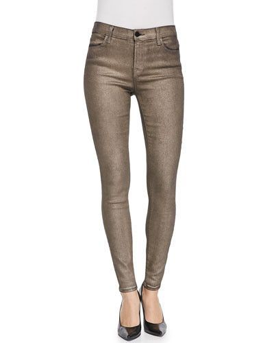 47c6bc041f6a J Brand NEW 620 Coated Stocking Super Skinny Jeans in Gold Dust, Size 24