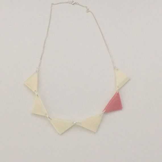 Statement necklace 6 small triangles white baby pink