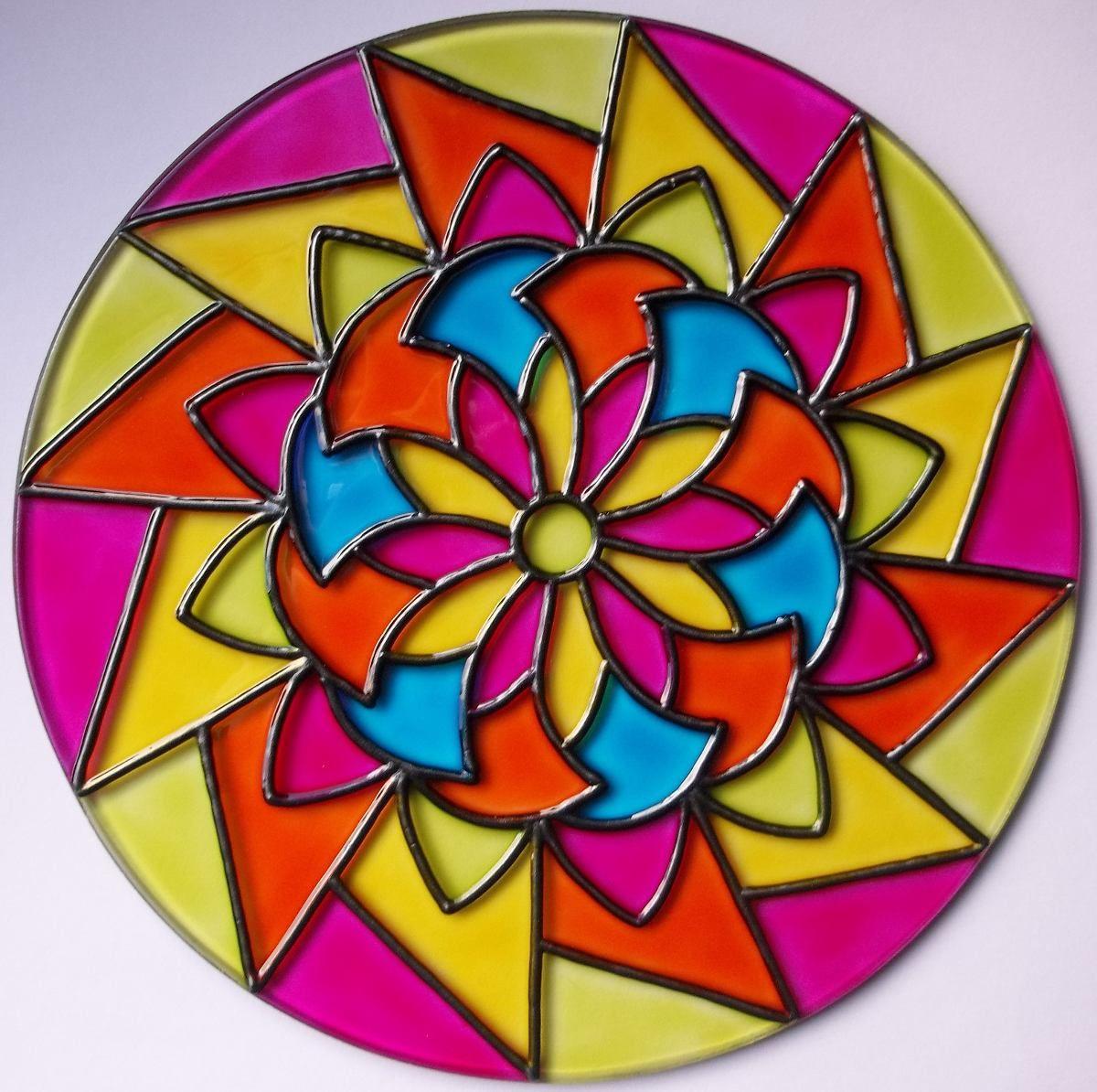 Mandalas En Vidrio Pintados A Mano Artesanales 29000 en