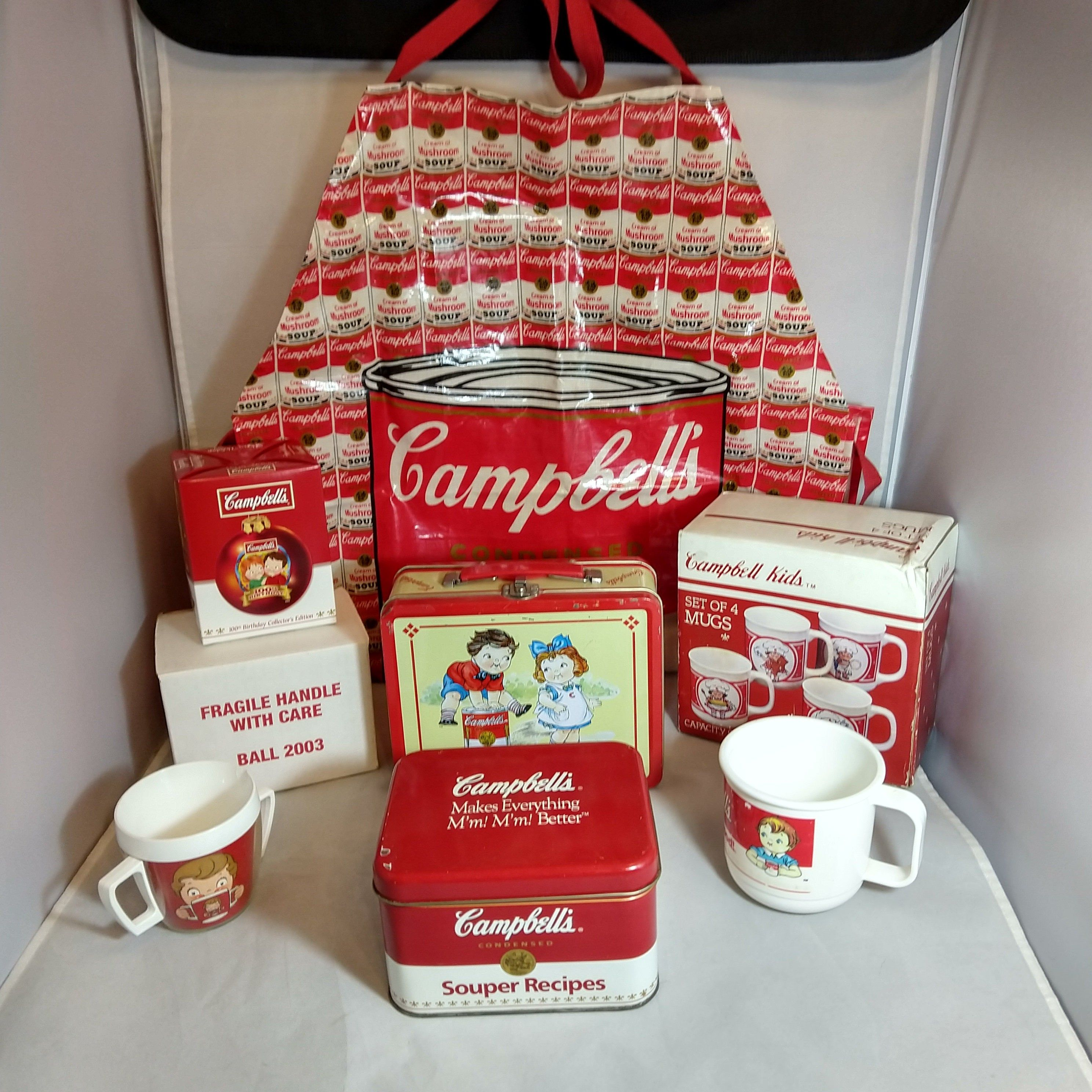 Vintage Campbell S Soup Collectibles 4 Mugs Nib 1990 Etsy In 2020 Recipe Tin Campbell Soup Kid Drinks