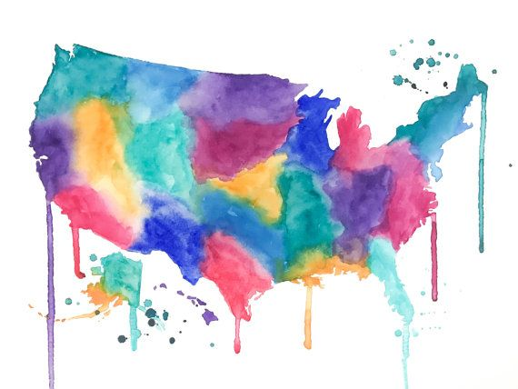 United States Map Original Watercolor Painting By NiksPaintGallery - Scratch off us state maps with pencil 25 pack