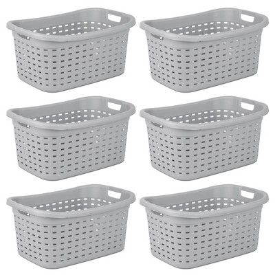 Sterilite Weave Laundry Basket With Wicker Pattern Cement 6 Pack 12756a06 Target Woven Laundry Basket