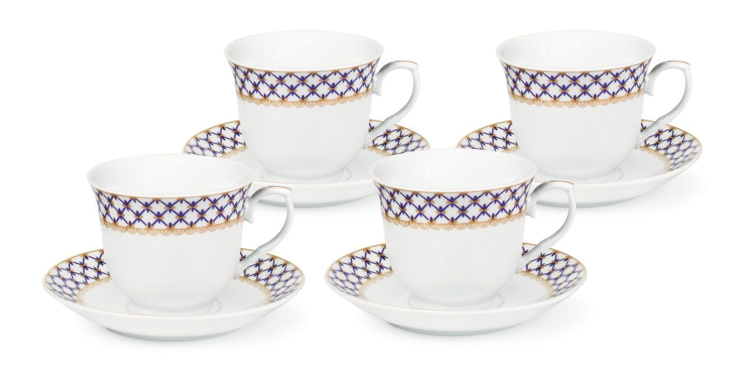 Case of 24 Blue and Gold Lattice Bulk Wholesale Tea Cups and