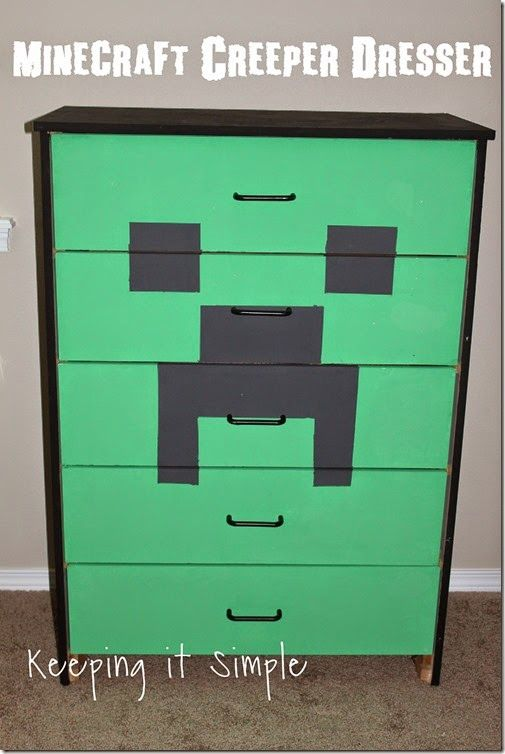 Minecraft Creeper Dresser With DecoArt Chalk Paint.