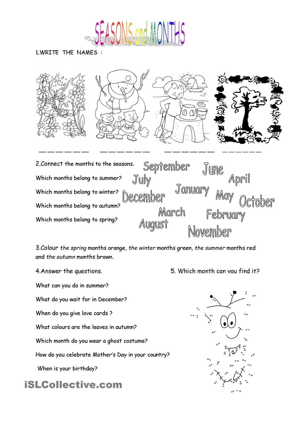 Worksheets Seasons Worksheet months and seasons worksheet kindergarten level learn english level