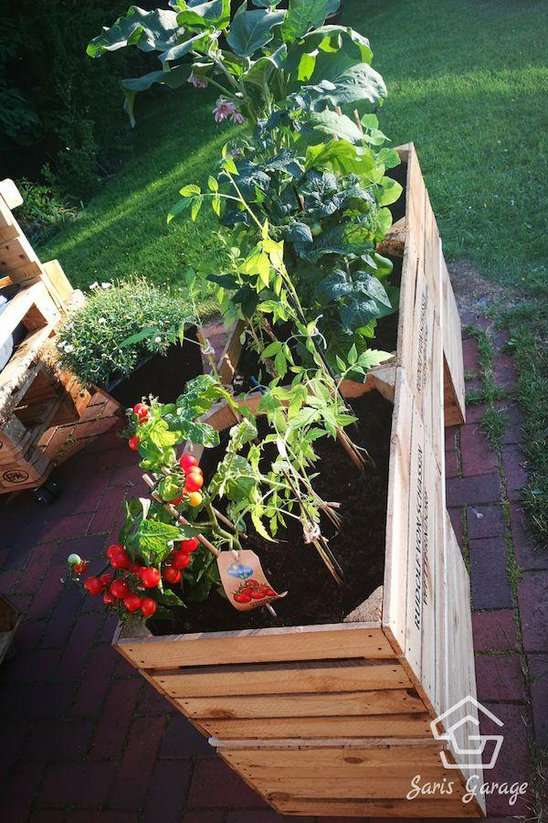 Hochbeet für die Terrasse selber bauen - Hochbeet aus Holz - Hochbeet Balkon - Hochbeet Obstkisten