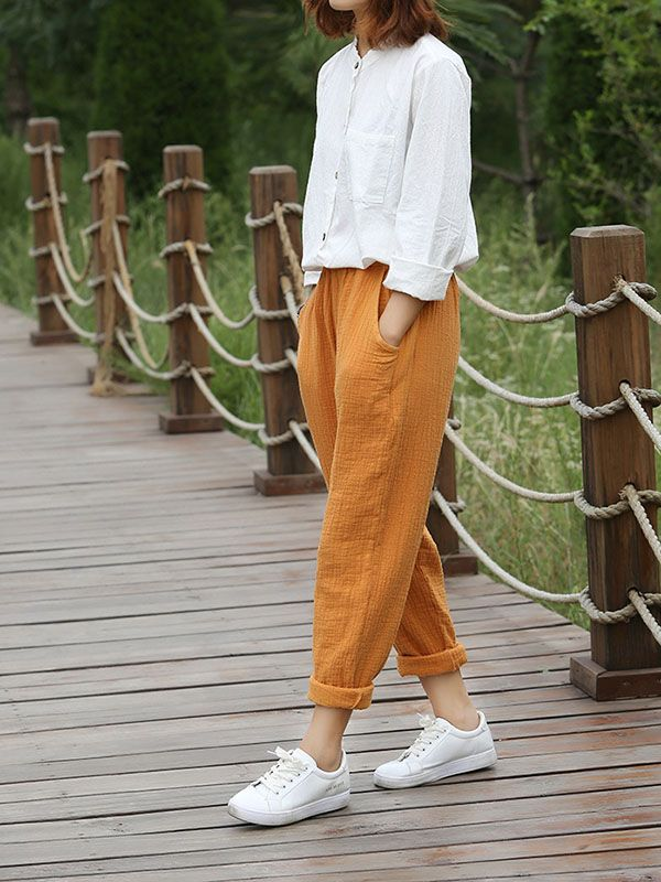 Photo of Yellow Patchwork Pockets High Waisted Fashion Pant