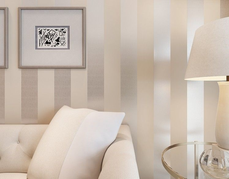 Non Woven Metallic Glitter Off White And Silver Vertical Stripes