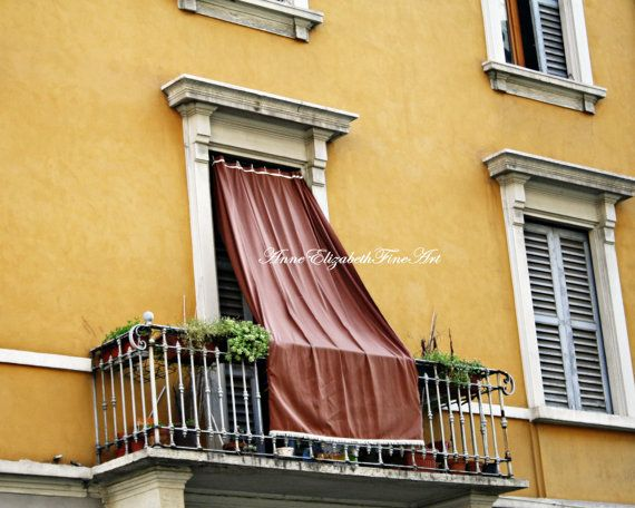 Italy Print ,Yellow, Color, Balcony, Window, Drapes,Shutters, Tuscan ...