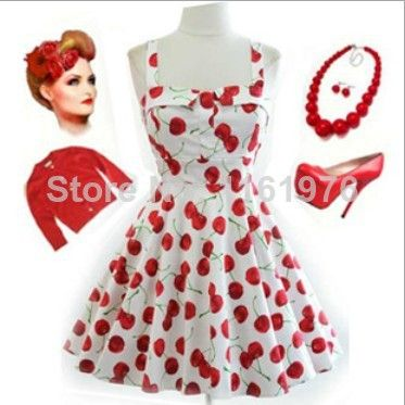2014 Womens Vintage 1950s 60s 70s Cherry Print Skater Dress Red White Retro Exclusive Ethnic Knee Length Hippie Sewing Dress US $39.75