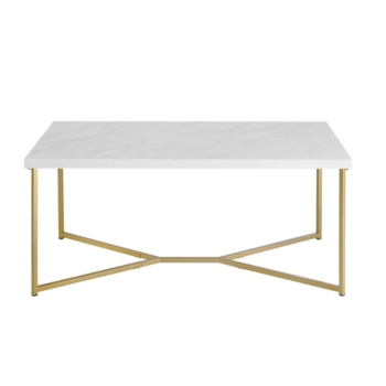 42 Modern Style White Faux Marble Coffee Table With Y Leg