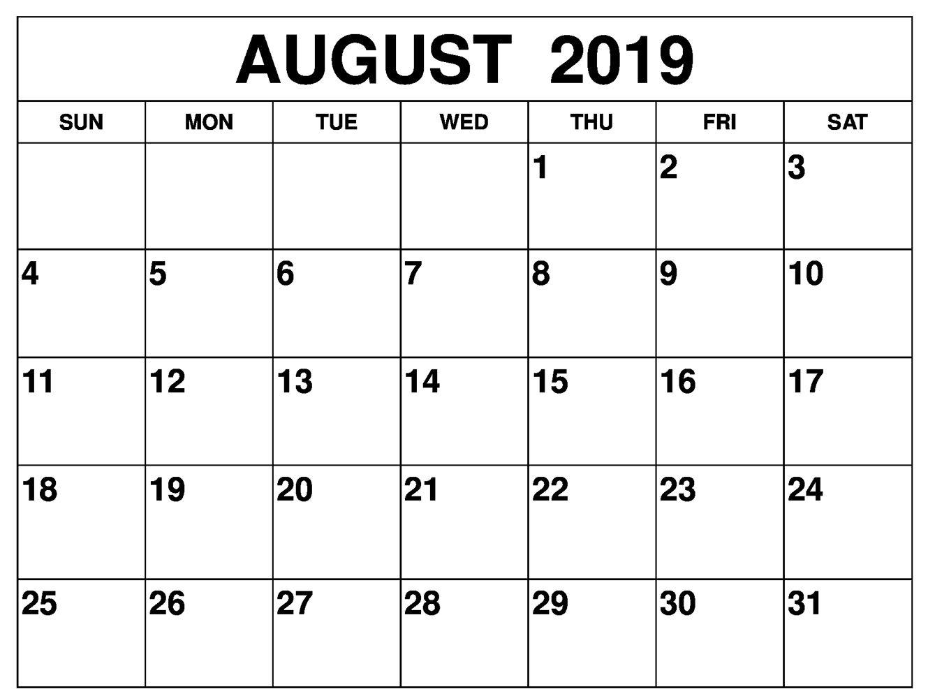 Printable August 2019 Calendar Word Pdf Document Page Printable