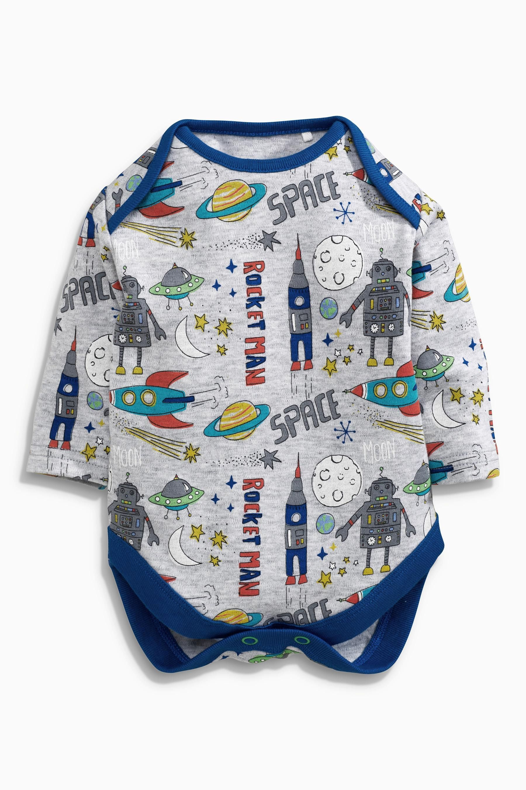 Buy Three Pack Blue Rocket Long Sleeved Bodysuit 0mths 2yrs from