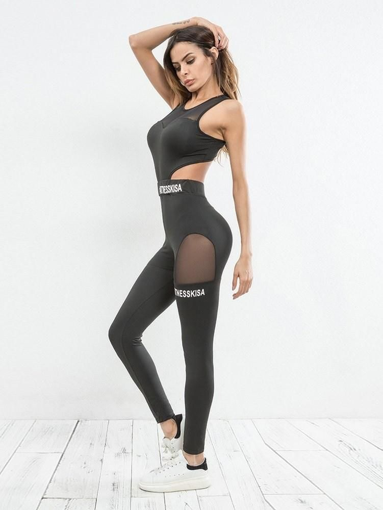 cf6db636c1990 mesh panel cut out gym fitness jumpsuit.  jumpsuits  clothing  women   fashion