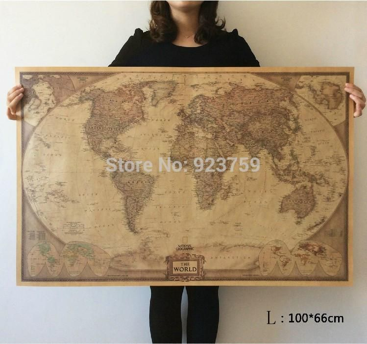Choose size the world map large vintage style retro paper poster choose size the world map large vintage style retro paper poster home wall decoration gumiabroncs Image collections