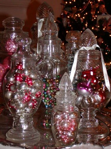 Antique candy jars filled to the brim with vintage for Christmas glass jar decorations