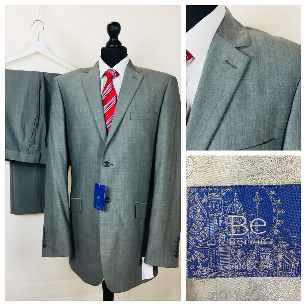 c24236acfbe01 Be Berwin Mens Suit 44L 38W 30L Wool Silk Grey Business Formal ...