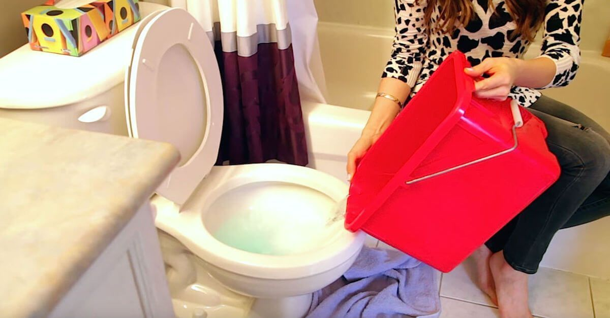 You can simply use a water bucket to flush your toilet if