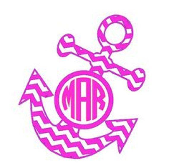 Anchor Chevron Girly Monogram Sticker Decal Koozie T Shirt Cute - Monogram car decal sizescar window monogram decalchickadees designs