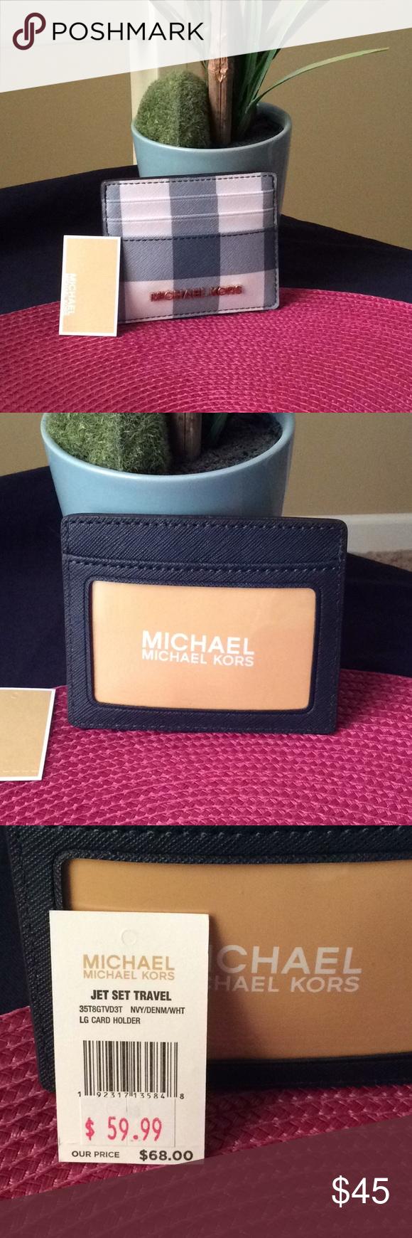 3acbeda763b0 MK Card holder blue plaid. NWT MK Card holder blue plaid. Gold logos ...