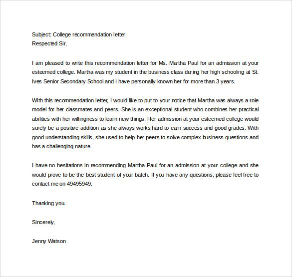 College Letter Of Recommendation Template Check more at   - college recommendation letters