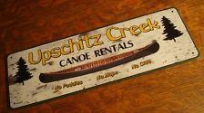 UPSCHITZ CREEK CANOE RENTALS No Paddles No Hope No Clue Log Cabin Sign Decor NEW