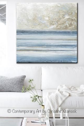 ORIGINAL Art Abstract Blue White Painting Textured Canvas Coastal Grey Beige LARGE Wall Decor 36x36
