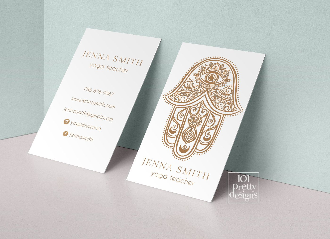 Yoga Business Card Printable Business Card Design Gold And White Business Cards Yoga Teac Business Card Design Business Cards Creative Printable Business Cards