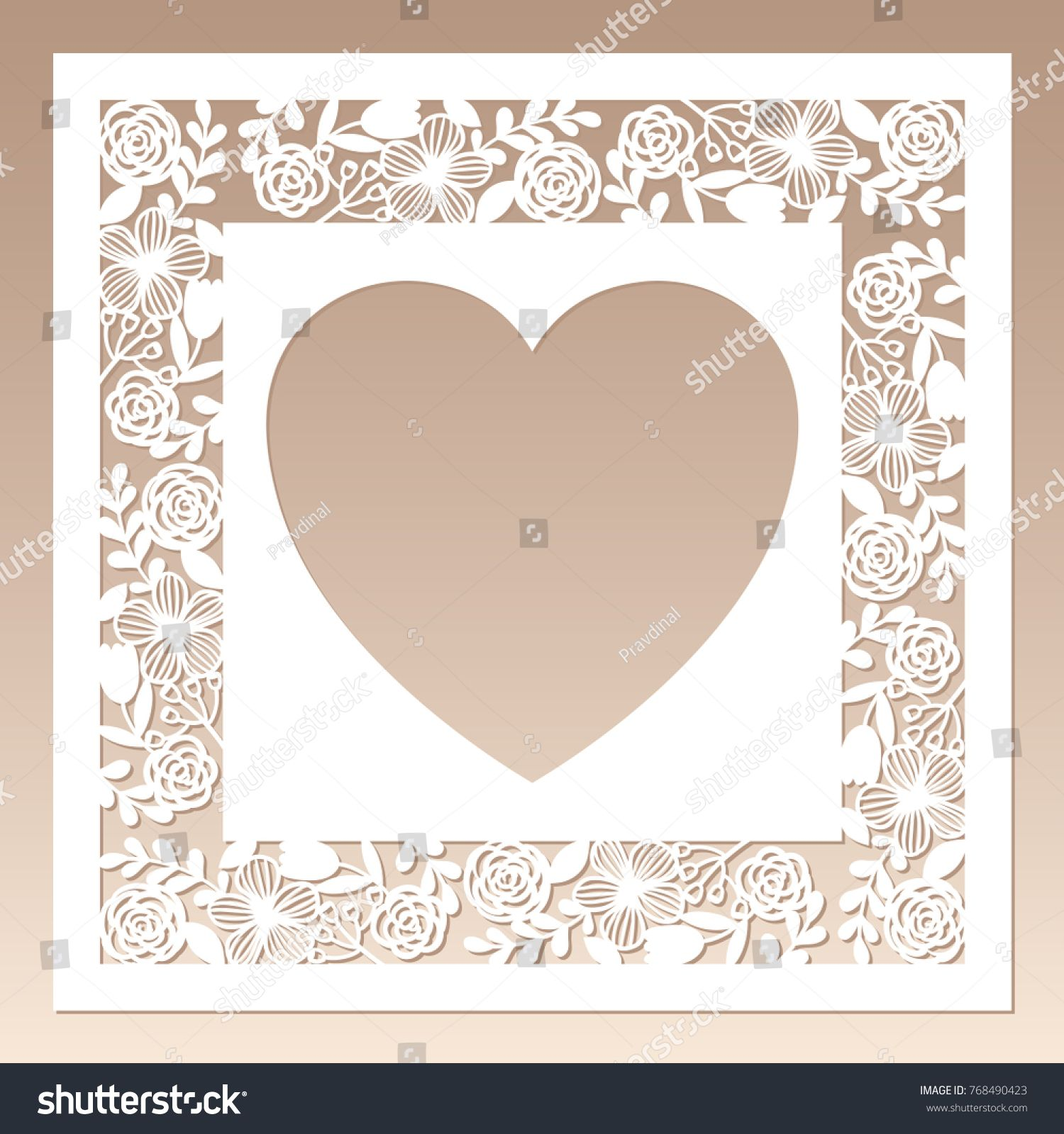 Openwork square frame with flowers and heart inside. Laser cutting ...