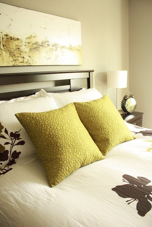 bedrooms - yellow pillows, gray walls, gray wall paint, gray paint ...