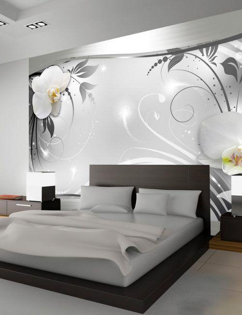 carta da parati orchidea bianca su fantasia argento carta