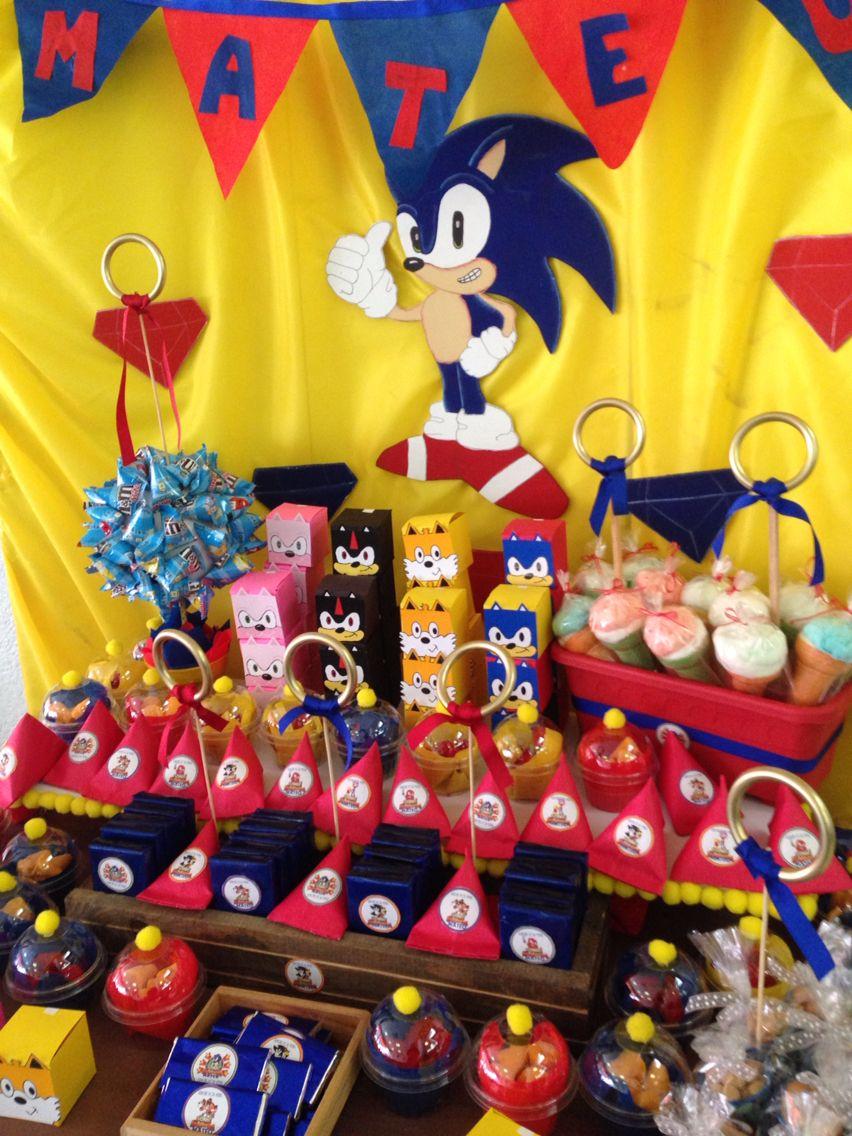 Mesa de dulces Sonic Fiesta de sonic, Fiestas de