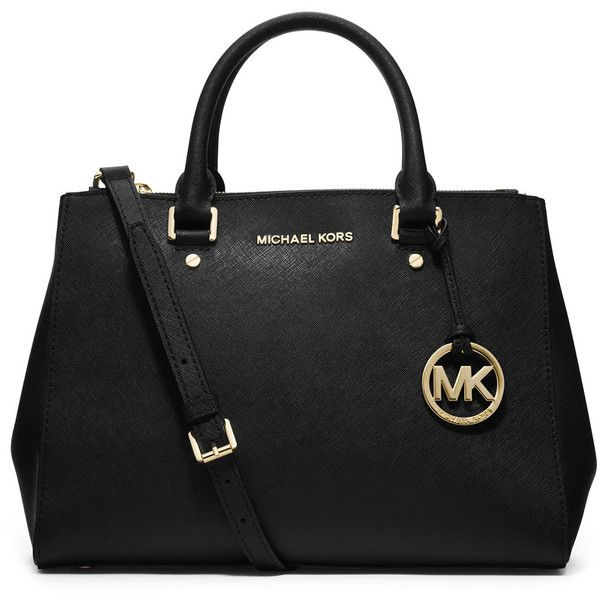 MICHAEL Michael Kors Sutton Medium Satchel Bag ($340) ❤ liked on Polyvore featuring bags, handbags, purses, michael kors, bolsos, black, black tote handbag, tote hand bags, black tote and handbags  purses